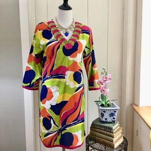 BODEN Bright Tropical Floral 100% Cotton Dress